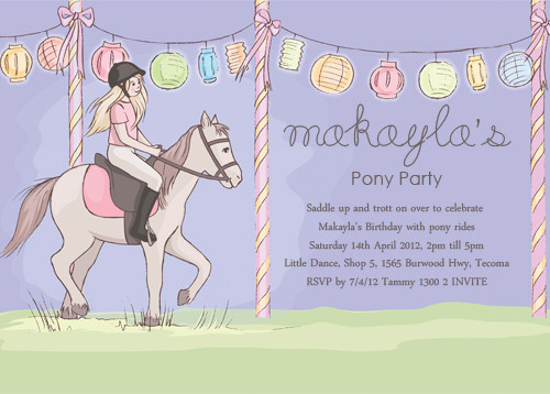 Girls Pony Birthday Party Invitation