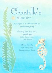 Seahorse Birthday Party Invitations