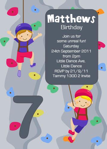 Boys Rock Climbing Birthday Party Invitation