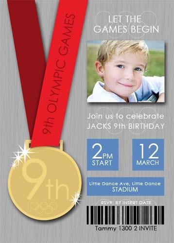 Olympic Games Birthday Party Invitation