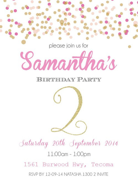 Birthday Party Invitation  Pink and Gold Confetti
