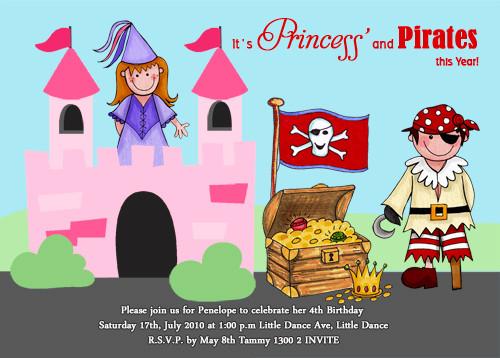 Pirates & Princesses Birthday Party Invitation