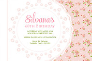Pink 60th Birthday Shabby Chic Birthday Party Invitations
