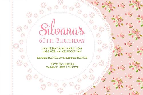Pink 60th Birthday Shabby Chic Birthday Party Invitations