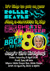 80's Themed Birthday Party Invitations