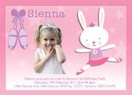 Ballet Bunny Birthday Party Invitations