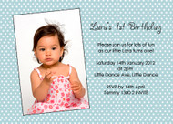 Blue Polka Dot Birthday Party Invitations