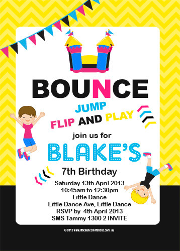 Bounce Jump Birthday Party Invitations