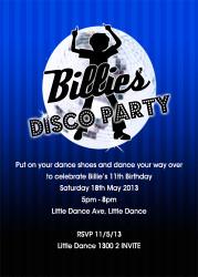 Boys Blue Disco Birthday Party Invitations