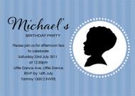 Boys Blue Cameo Birthday Party Invitation