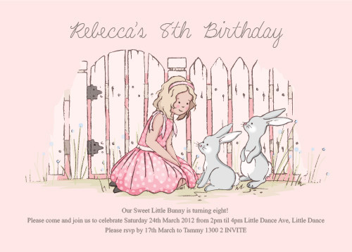 bunny at the gate theme personalised flat card invitation