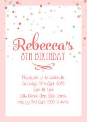 Confetti Birthday Party Invitations