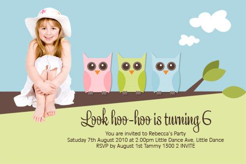 Cute Owl Birthday Party Invitations
