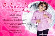 Girls Pink Disco Birthday Party Invitations
