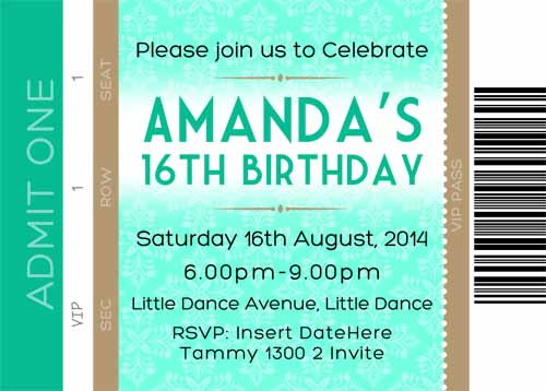 Event Ticket Birthday Party Invitation