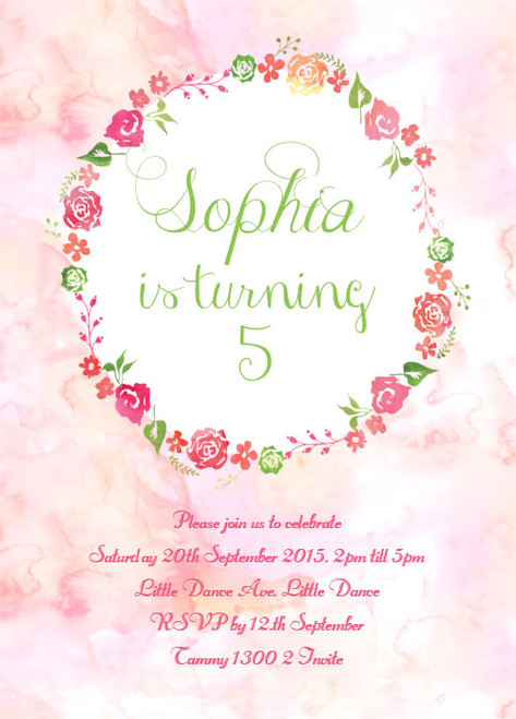 Floral Watercolour Birthday Party Invitations