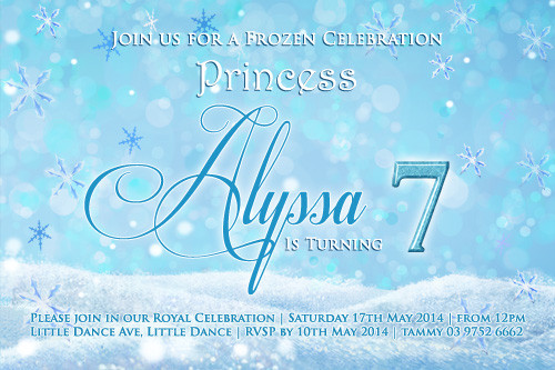 Frozen Theme Girls Party Invitations