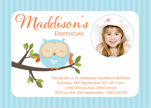 Girls Blue Owl Birthday Party Invitation