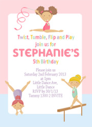 Girls Gymnastics Birthday Party Invitations