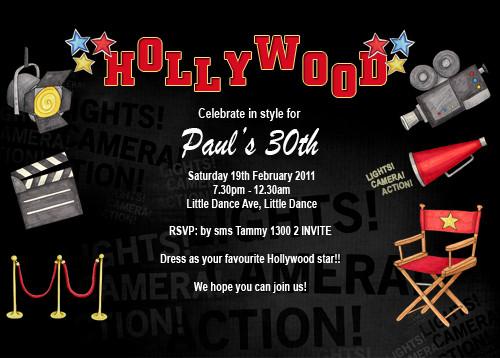 Hollywood Themed Birthday Party Invitations