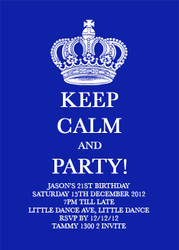 Blue KEEP CALM and PARTY Birthday Party Invitations