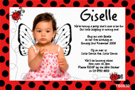 Red ladybird Birthday Party Invitations