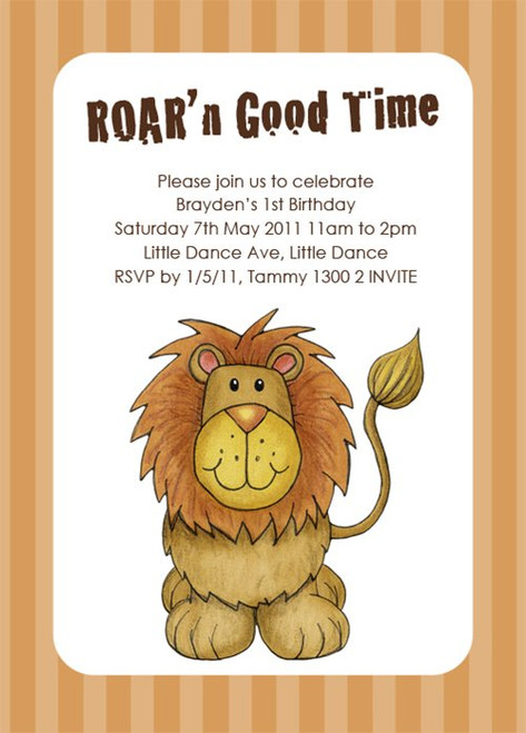 Little Lion Birthday Party Invitations