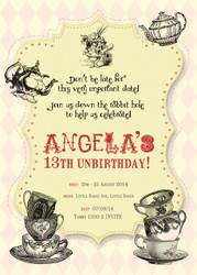Mad Hatters Birthday Party Invitations