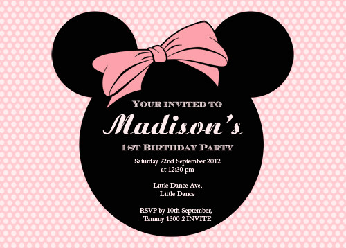 personalised mini mouse themed invitations for sale australia buy