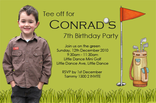 Mini Putt Putt Gold Party Birthday Invitations