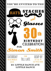 Orange Staches & Glasses Party Birthday Invitations