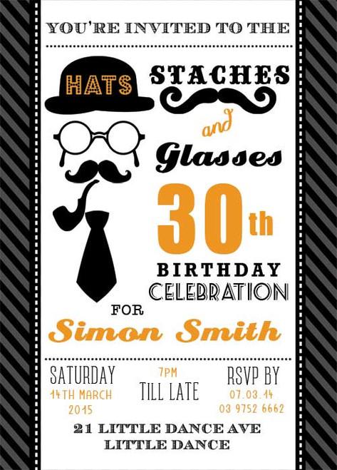 Orange Staches & Glasses Party Birthday Invitations