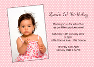 Pink Polka Dot Party Birthday Invitations