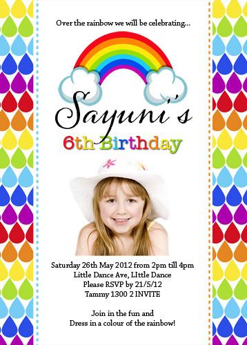 Buy Rainbow Theme Party Invitations Rainbow Birthday Party