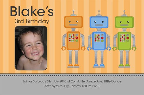 Robot Party Birthday Party Invitation