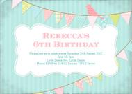 Sweet Vintage Bunting Birthday Party Invitation