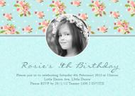 Vintage Blue Shabby Chic Floral Birthday Party Invitation
