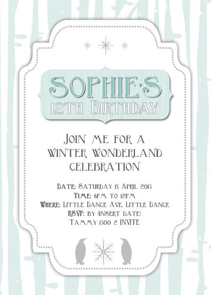 invitations winter wonderland theme blue and white winter themed