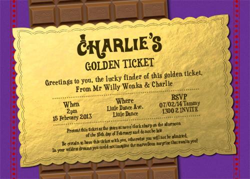 Golden Ticket Birthday Party Invitations