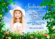 Personalised kids birthday party invites - Summer garden party theme