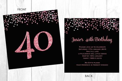 Online 40th Birthday Invitations