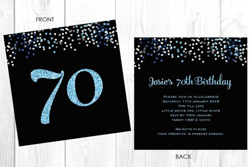 Personalised 70th birthday party invitation