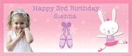 Ballet Bunny Personalised Photo Birthday Party Banner.