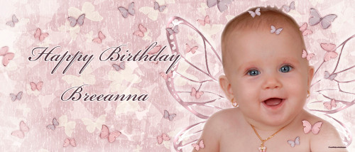 Cute pink girls birthday party banner with fairy theme and pink background. For sale online in Australia