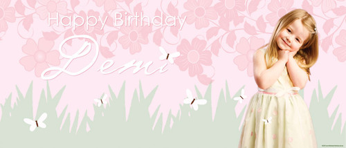 Butterfly Garden Personalised Birthday Banner.