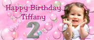 Party Banners - Happy Birthday Banner Pink Bubbles