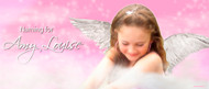 Custom personalized girls christening or baptism banner for sale online. Made using a photo, Pink Angel Theme