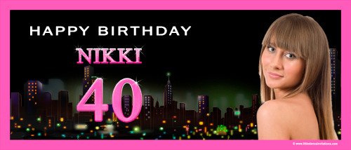 Sex in the City personalized girls 40th birthday party banner with photo. Order online in Australia