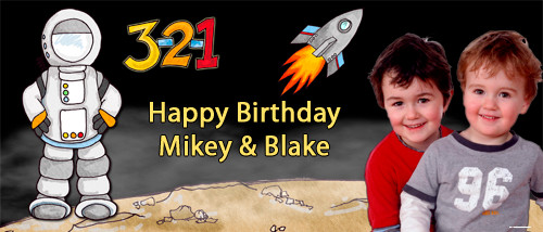 Personalized kids birthday party banner with photo - Space Astronaut theme. For sale online in Australia