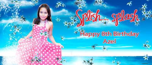 Personalized girls birthday party banner with photo - Splish splash pool party theme. Order online in Australia